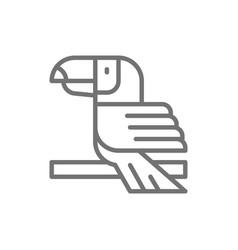 Toucan tropical bird line icon vector