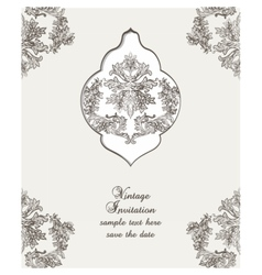 Vintage card damask baroque pattern vector