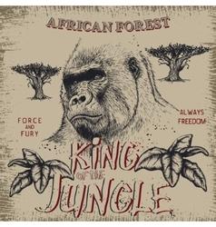 Vintage label with gorilla vector