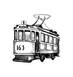 Vintage tram engraving vector