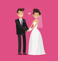 Wedding concept happy bride and groom holding vector