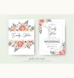 Wedding floral double watercolor invite vector