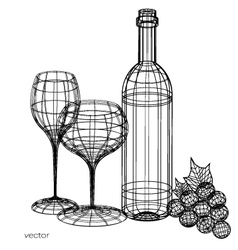 wine glass and wine bottle set of glasses vector image