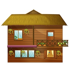 Wooden house with two stories vector image