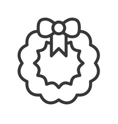 Wreath christmas related line style icon vector