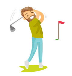 young caucasian white golfer hitting the ball vector image