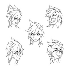 a set of emoticons emotional girl on white vector image