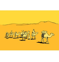 Camel caravan in the desert vector image vector image