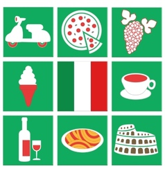 collection of icons about italy flag food vehicle vector image