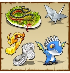 Dragon set different objects with dragon image vector image vector image
