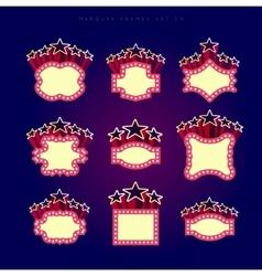 Retro illuminated movie marquee set vector image vector image
