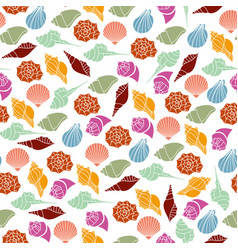silhouettes seamless pattern of seashells vector image vector image