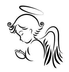 Angel praying logo vector image vector image