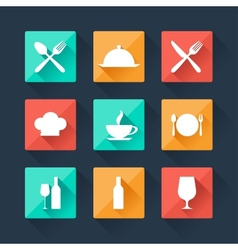 Collection flat icons food and drink for web vector image
