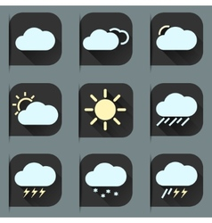 Flat design style weather icons and stickers set vector image vector image