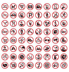 prohibition signs icon set vector image