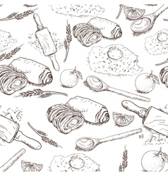 Seamless Bakery background vector image vector image