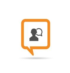 square orange speech bubble with man three vector image vector image