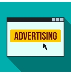 Advertising on a computer monitor icon flat style vector image vector image