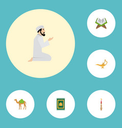 flat icons prayer carpet genie mosque and other vector image vector image