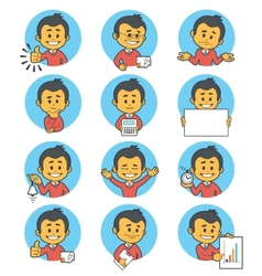 Flat people icons with business characters vector image