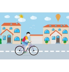 Man riding his bike on the road among buildings vector image
