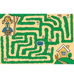 maze girl lost in woods vector image