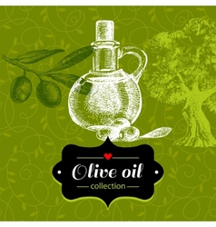 Vintage olive background with hand drawn sketch vector image