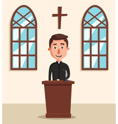 Young catholic priest Cartoon vector image vector image