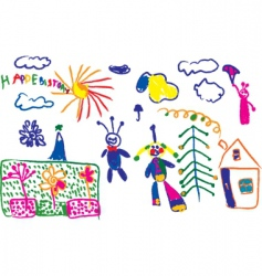childish drawings vector image vector image