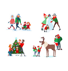 christmas family scenes decorating christmas tree vector image vector image