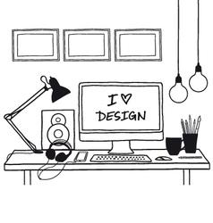 design studio mock up vector image