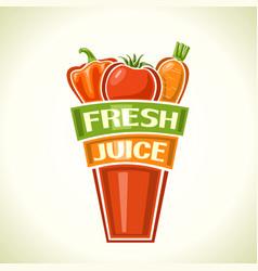 fresh vegetable juice vector image vector image