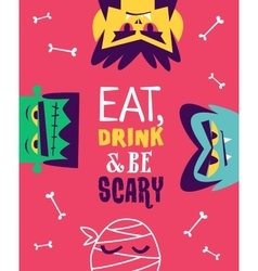 Funny invitation flyer for halloween party vector image vector image