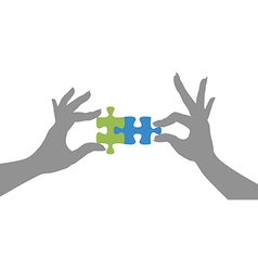 Hands puzzle pieces together solution vector image vector image