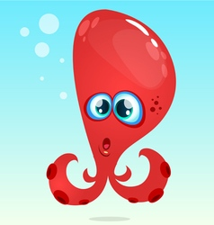 Happy cartoon octopus red octopus surprised vector image