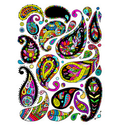 paisley ornament set sketch for your design vector image vector image