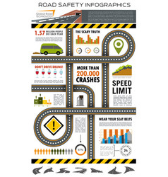 road and traffic safety infographic design vector image