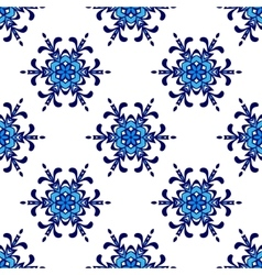 seamless pattern winter snowflake background vector image