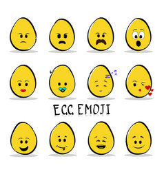 set of 12 egg emoji isolated on clear background vector image