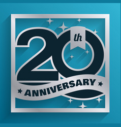 20 years silver anniversary design on blue vector