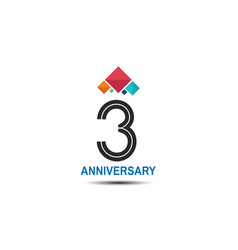 3 anniversary logotype with colorful crown vector