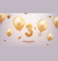 3rd year anniversary celebration background vector