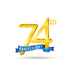 74th golden anniversary logo with blue ribbon vector