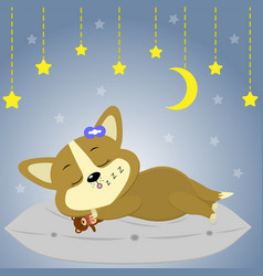 a cute corgi puppy is sleeping on a pillow the vector image