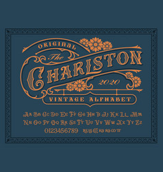 a vintage alphabet for label designs vector image