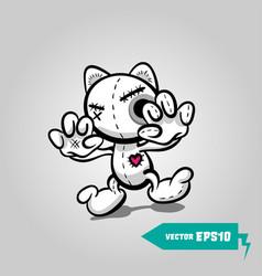 Angry sewn voodoo cat halloween sticker art vector