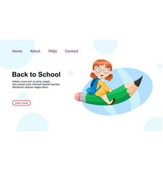 Back to school cute schoolgirl sitting on big vector