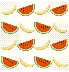 Background with watermelon and cantaloupe vector image