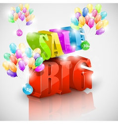 Big 3D sale with colorful bubbles vector image
